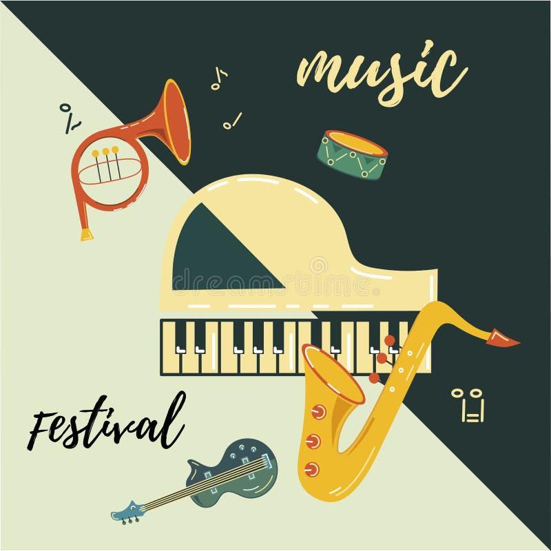 Διανυσματική απεικόνιση με το saxophone, πιάνο, κιθάρα, γαλλικό κέρατο, τύμπανο διανυσματική απεικόνιση