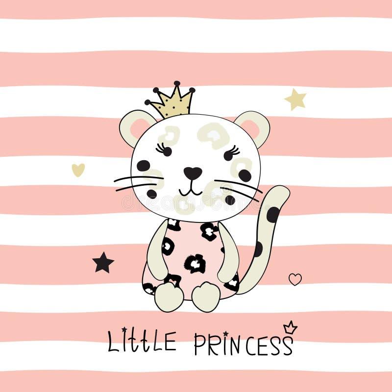 Διανυσματική απεικόνιση με χαριτωμένο λίγη λεοπάρδαλη ελεύθερη απεικόνιση δικαιώματος
