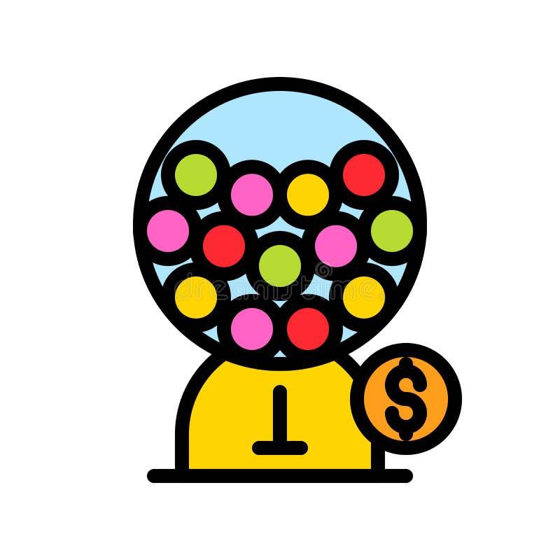 Διανυσματική απεικόνιση μηχανών Gumball, γεμισμένη editable περίληψη εικονιδίων ύφους ελεύθερη απεικόνιση δικαιώματος