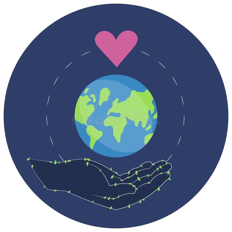 Διανυσματική απεικόνιση μιας αυτοκόλλητης ετικέττας για την ημέρα παγκόσμιου περιβάλλοντος στοκ εικόνες