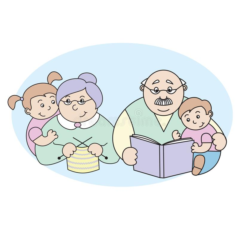 Διανυσματική απεικόνιση μιας γιαγιάς και ενός παππού με τα εγγόνια της, μια ηλικιωμένη κυρία που πλέκουν, ένα ηλικιωμένο άτομο πο απεικόνιση αποθεμάτων