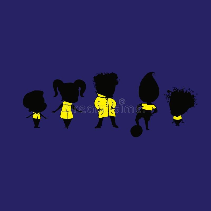 Διανυσματική απεικόνιση μιας κίτρινης σκιαγραφίας παιδιών ομάδας διανυσματική απεικόνιση