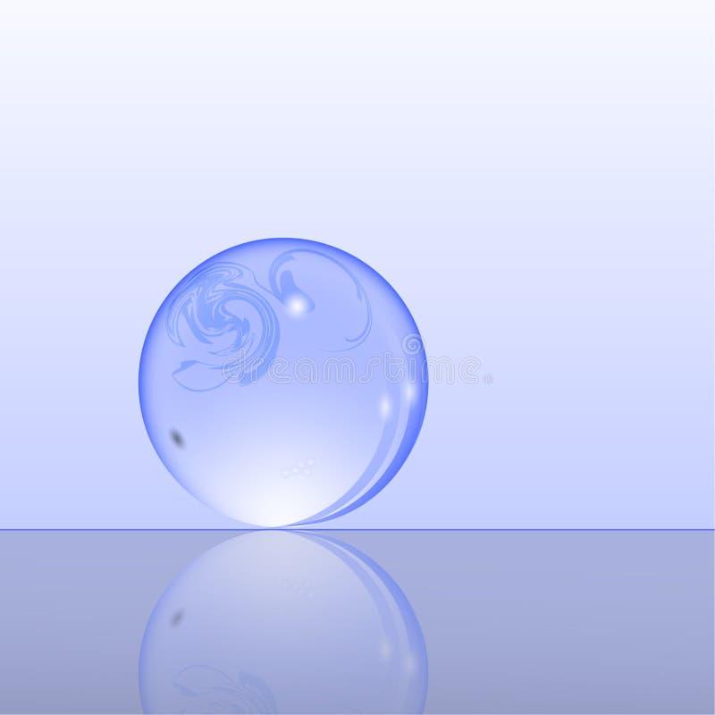 Διανυσματική απεικόνιση μιας μπλε σφαίρας γυαλιού με την αντανάκλαση στοκ εικόνες με δικαίωμα ελεύθερης χρήσης