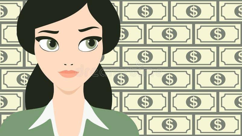 Διανυσματική απεικόνιση μιας νέας και όμορφης επιτυχούς επιχειρησιακής γυναίκας μπροστά από ένα υπόβαθρο τραπεζογραμματίων δολαρί διανυσματική απεικόνιση