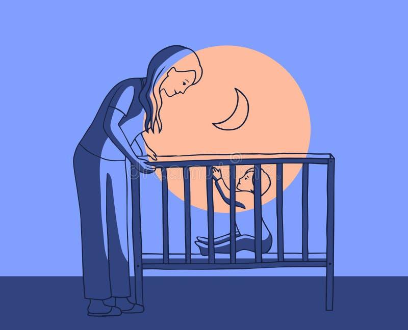Διανυσματική απεικόνιση μιας νέων μητέρας και ενός μωρού στο παχνί τη νύχτα Η γυναίκα που κλίνεται στο παιδί, το παιδί τραβά τα χ απεικόνιση αποθεμάτων