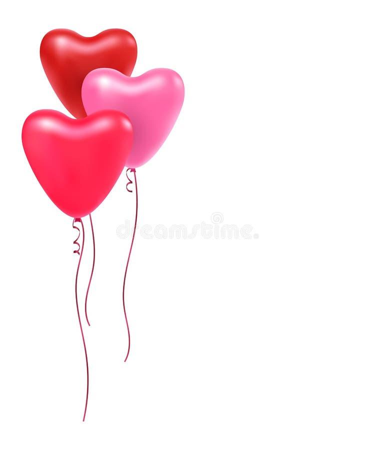 Διανυσματική απεικόνιση μιας πετώντας δέσμης των καρδιών μπαλονιών διανυσματική απεικόνιση
