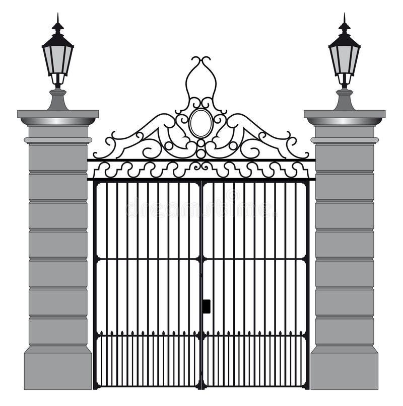 Διανυσματική απεικόνιση μιας πύλης επεξεργασμένου σιδήρου ελεύθερη απεικόνιση δικαιώματος