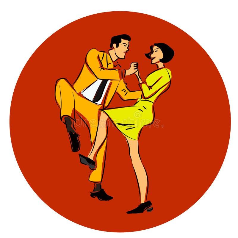 Διανυσματική απεικόνιση μιας χορεύοντας ταλάντευσης ζευγών, μιας συστροφής ή ενός lindy λυκίσκου απεικόνιση αποθεμάτων