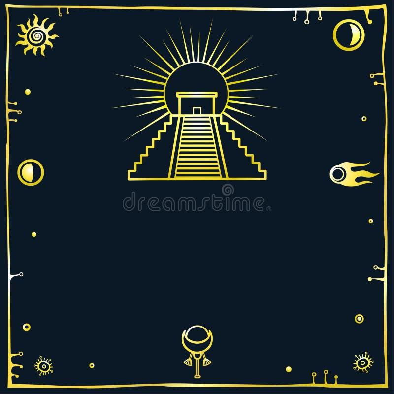 Διανυσματική απεικόνιση: μια σκιαγραφία της μεξικάνικης πυραμίδας σε ένα μαύρο υπόβαθρο Χρυσή μίμηση ελεύθερη απεικόνιση δικαιώματος