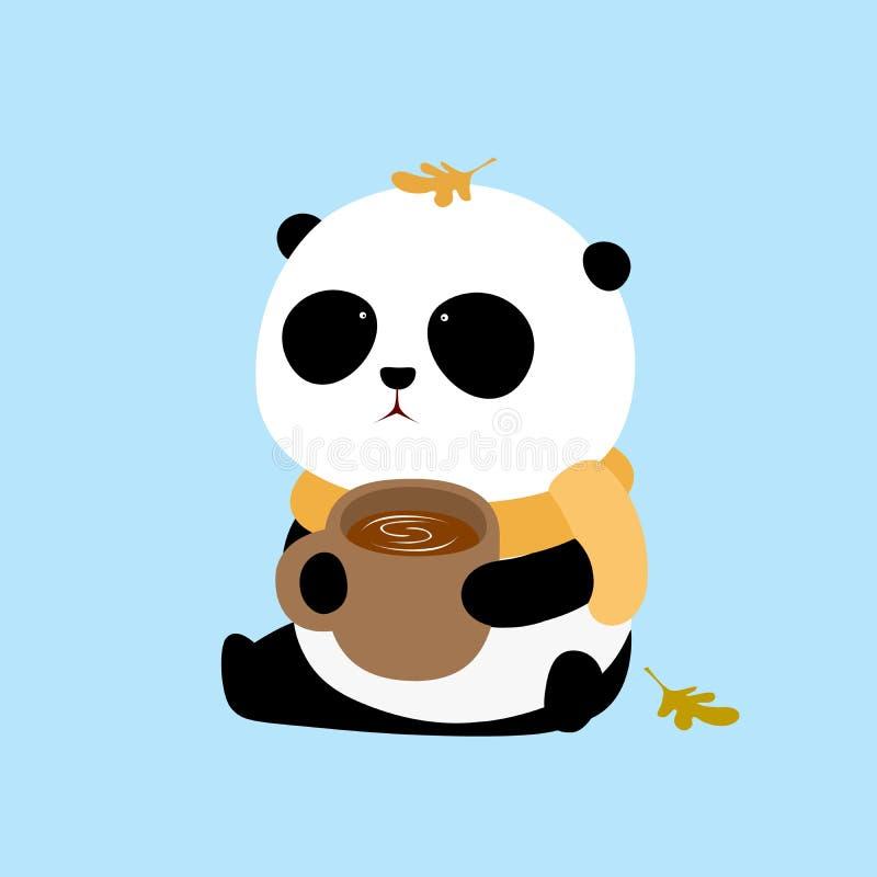 Διανυσματική απεικόνιση: Μια χαριτωμένη συνεδρίαση panda κινούμενων σχεδίων γιγαντιαία στο έδαφος με ένα φλιτζάνι του καφέ ελεύθερη απεικόνιση δικαιώματος