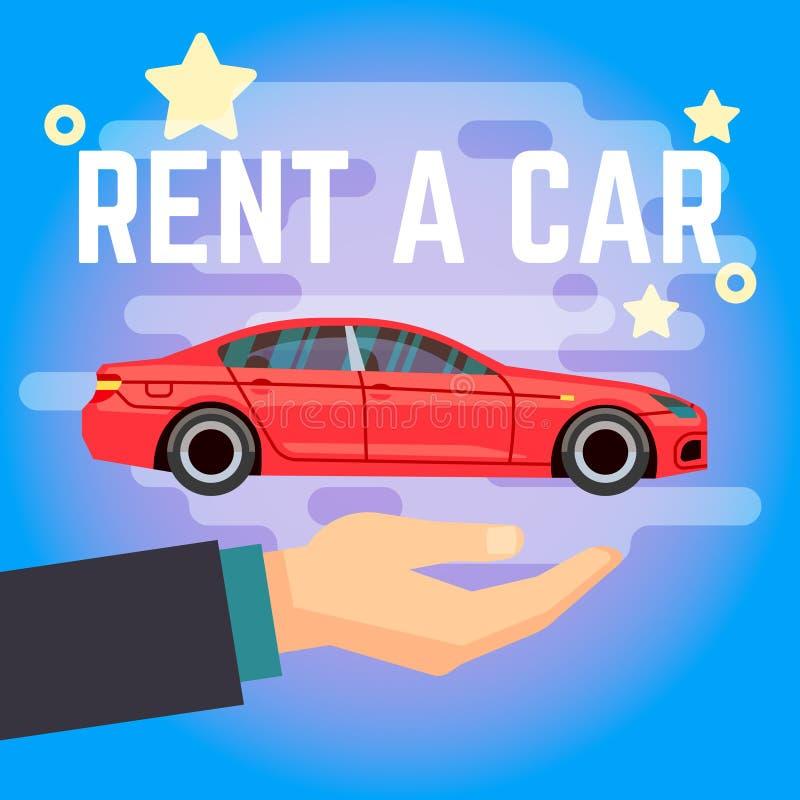 Διανυσματική απεικόνιση μισθώματος αυτοκινήτων Χέρι με το κόκκινο αυτοκίνητο επίπεδος-ύφους στο μπλε υπόβαθρο απεικόνιση αποθεμάτων