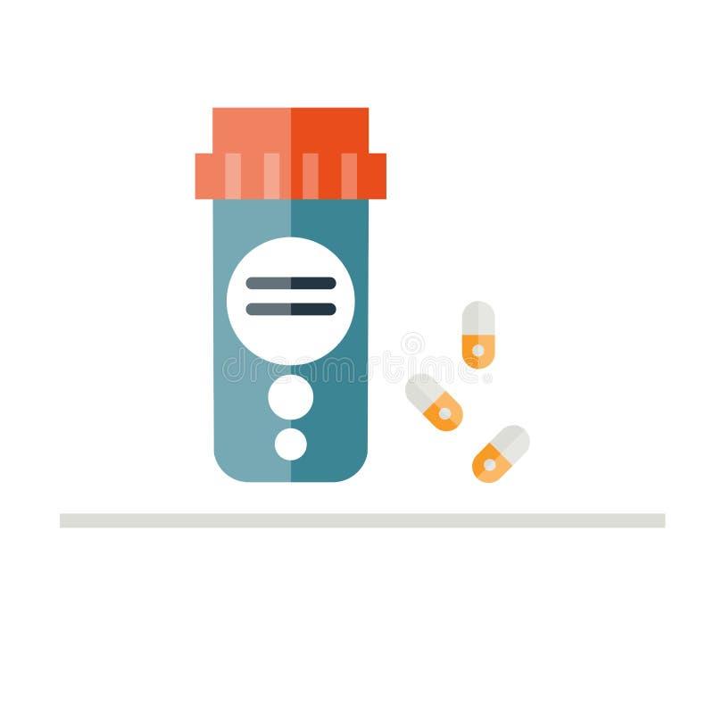 Διανυσματική απεικόνιση μπουκαλιών χαπιών Μπουκάλι ιατρικής στο επίπεδο ύφος απεικόνιση αποθεμάτων