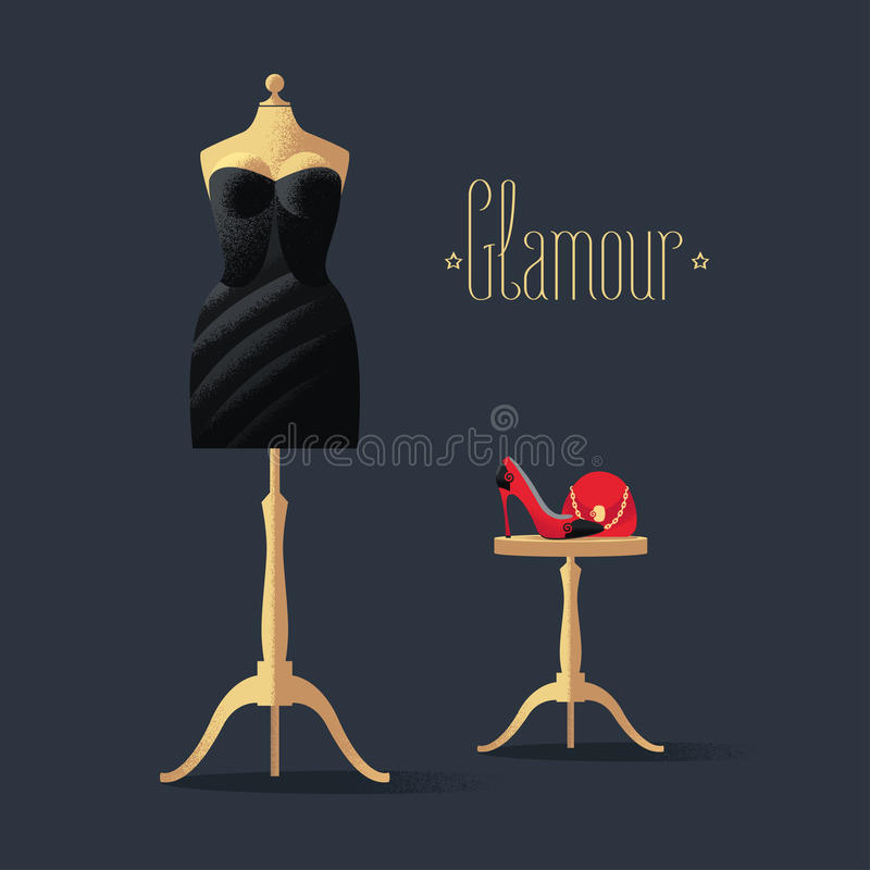 Διανυσματική απεικόνιση μόδας με λίγο μαύρο φόρεμα απεικόνιση αποθεμάτων