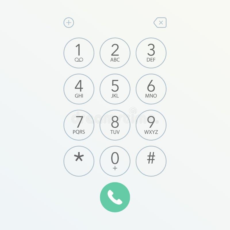 Διανυσματική απεικόνιση οθόνης αριθμητικών πληκτρολογίων πινάκων Smartphone διανυσματική απεικόνιση