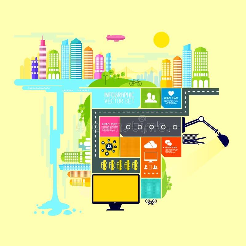 Διανυσματική απεικόνιση οικισμός και πόλη απεικόνιση αποθεμάτων