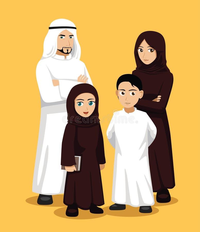 Διανυσματική απεικόνιση οικογενειακών κινούμενων σχεδίων Manga αραβική απεικόνιση αποθεμάτων