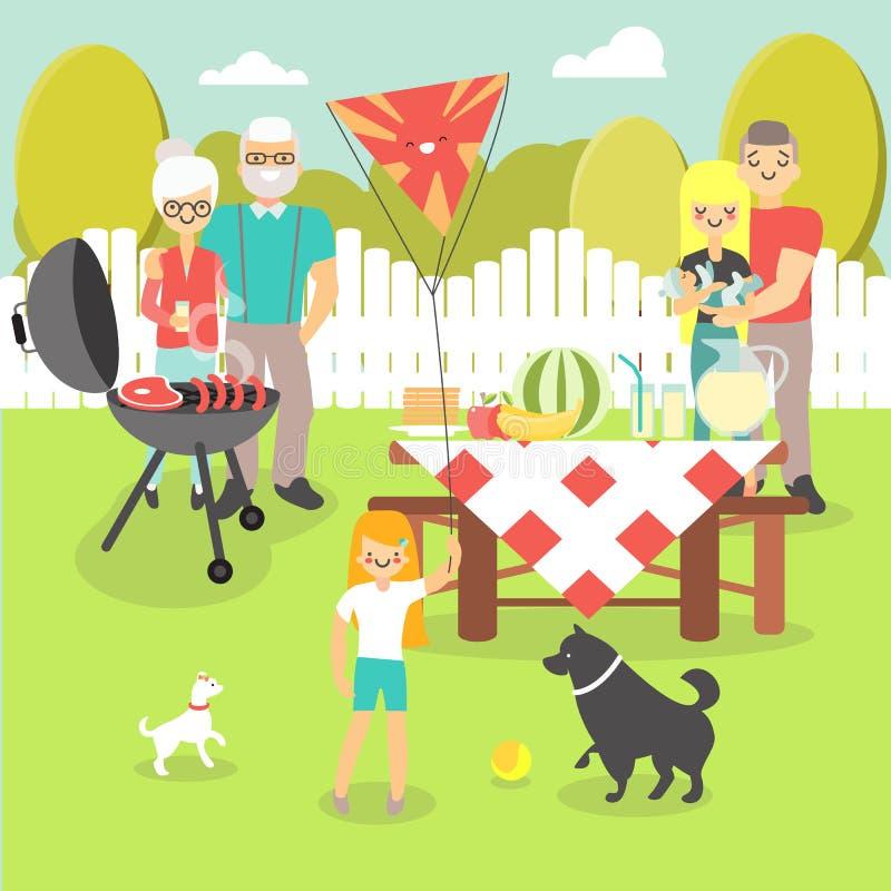 Διανυσματική απεικόνιση οικογενειακών πικ-νίκ στο επίπεδο ύφος απεικόνιση αποθεμάτων