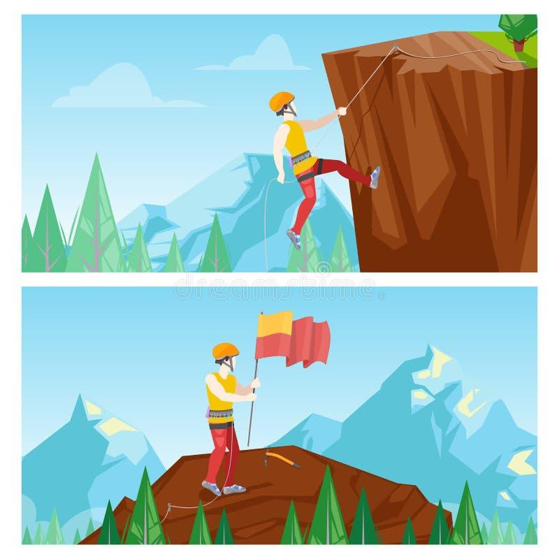 Διανυσματική απεικόνιση ορειβατών Άτομο που αναρριχείται στο βράχο Ορεσίβιος με τη σημαία πάνω από το βουνό απεικόνιση αποθεμάτων