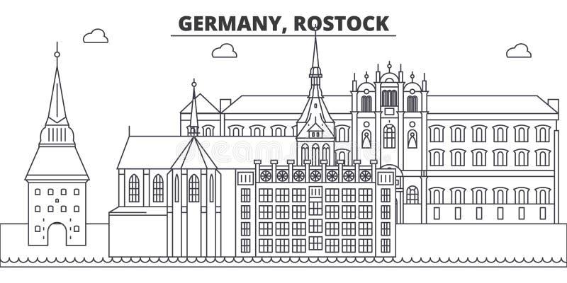 Διανυσματική απεικόνιση οριζόντων γραμμών της Γερμανίας, $ροστόκ Γερμανία, γραμμική εικονική παράσταση πόλης του $ροστόκ με τα δι απεικόνιση αποθεμάτων