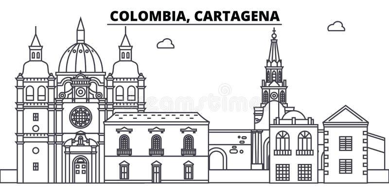 Διανυσματική απεικόνιση οριζόντων γραμμών της Κολομβίας, Καρχηδόνα Κολομβία, γραμμική εικονική παράσταση πόλης της Καρχηδόνας με  ελεύθερη απεικόνιση δικαιώματος