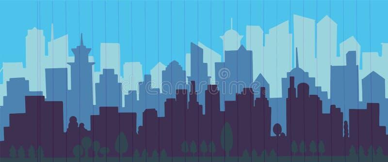 Διανυσματική απεικόνιση οριζόντων πόλεων landscape urban Μπλε πόλη sil απεικόνιση αποθεμάτων
