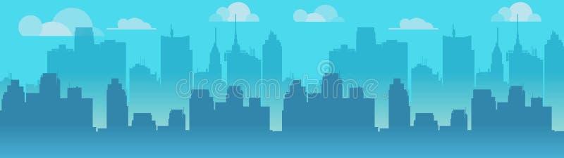 Διανυσματική απεικόνιση οριζόντων πόλεων Μπλε σκιαγραφία πόλεων Πρωινός ορίζοντας πόλεων Διανυσματική απεικόνιση για την αίτησή σ διανυσματική απεικόνιση