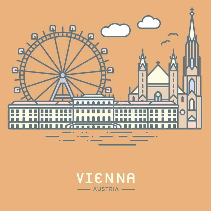 Διανυσματική απεικόνιση ορόσημων πόλεων της Βιέννης απεικόνιση αποθεμάτων