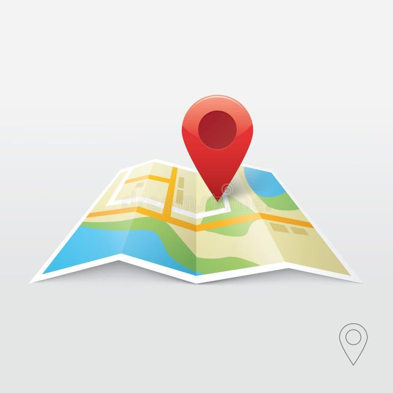 Διανυσματική απεικόνιση οδικών χαρτών, εντοπιστής ναυσιπλοΐας ΠΣΤ, νέα καρφίτσα roadmap απεικόνιση αποθεμάτων