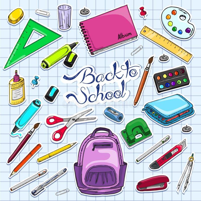 Διανυσματική απεικόνιση πίσω στις σχολικές προμήθειες Σχολικές προμήθειες αυτοκόλλητων ετικεττών διανυσματική απεικόνιση