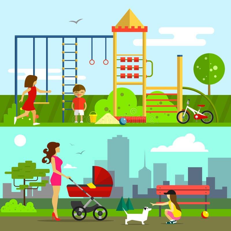 Διανυσματική απεικόνιση παιδικών χαρών παιδιών στο επίπεδο σχέδιο ύφους Παιδιά που παίζουν στην παιδική χαρά ελεύθερη απεικόνιση δικαιώματος