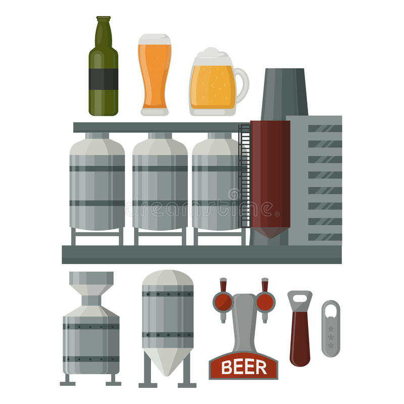 Διανυσματική απεικόνιση παραγωγής μπύρας ελεύθερη απεικόνιση δικαιώματος