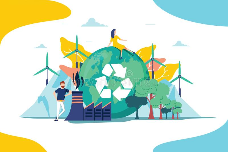 Διανυσματική απεικόνιση περιβάλλοντος Ανανεώσιμη συλλογή των πόρων φύσης για τη γήινη ικανότητα υποστήριξης Οι άνθρωποι επηρεάζου διανυσματική απεικόνιση