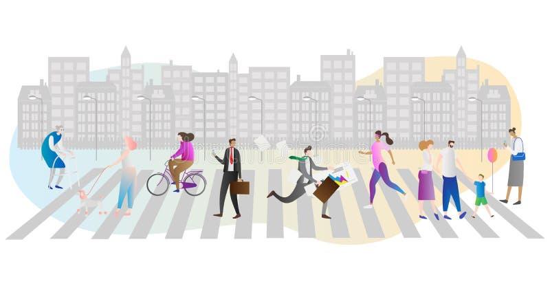 Διανυσματική απεικόνιση πλήθους οδών Επιχειρηματίας, οικογένεια, γυναίκα με το σκυλί και περπάτημα ή βιασύνη ηλικιωμένων που τρέχ απεικόνιση αποθεμάτων