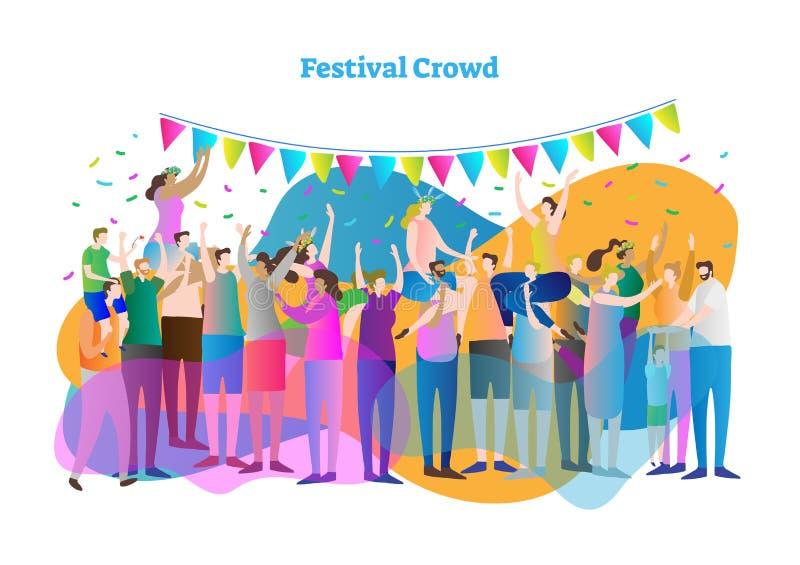 Διανυσματική απεικόνιση πλήθους φεστιβάλ Η μαζική ομάδα ανεμιστήρων και οι θεατές χορεύουν, συναυλία χειροκροτήματος και άποψης,  διανυσματική απεικόνιση