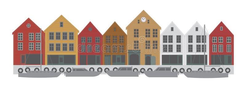 Διανυσματική απεικόνιση προκυμαιών του Μπέργκεν Νορβηγία στο κέντρο της πόλης ελεύθερη απεικόνιση δικαιώματος