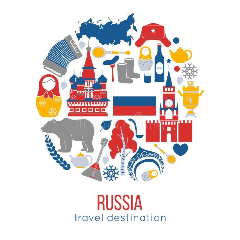 Διανυσματική απεικόνιση προορισμού ταξιδιού της Ρωσίας διανυσματική απεικόνιση