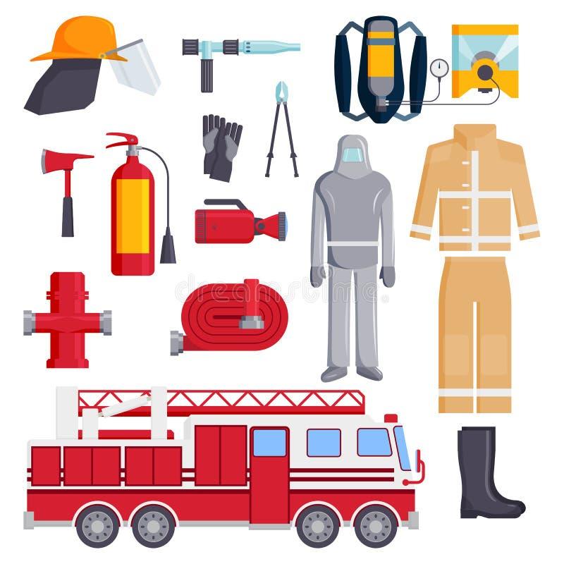 Διανυσματική απεικόνιση προστασίας εξοπλισμού ασφάλειας εικονιδίων έκτακτης ανάγκης πυροσβεστικών υπηρεσιών πυροσβεστών χρωματισμ ελεύθερη απεικόνιση δικαιώματος