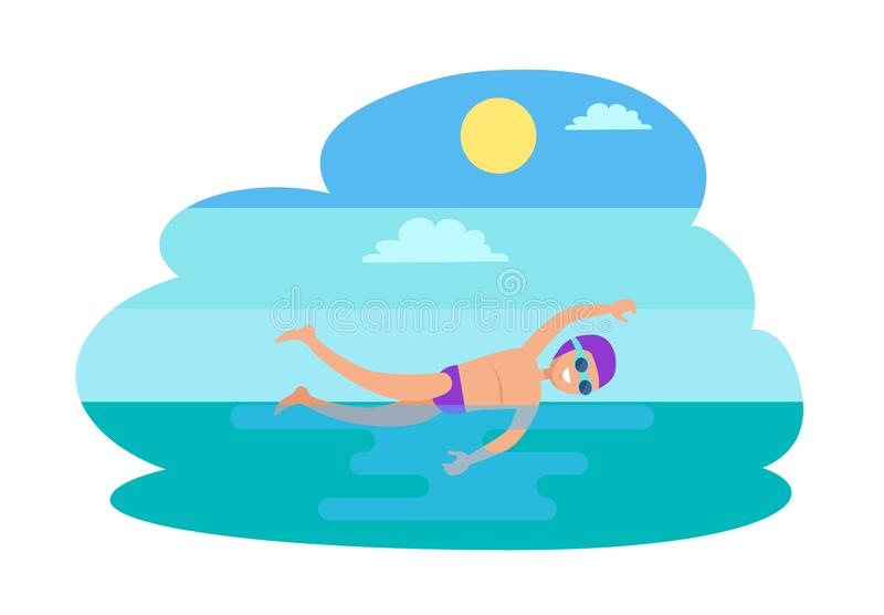 Διανυσματική απεικόνιση προσώπων ελεύθερης κολύμβησης κολυμπώντας διανυσματική απεικόνιση
