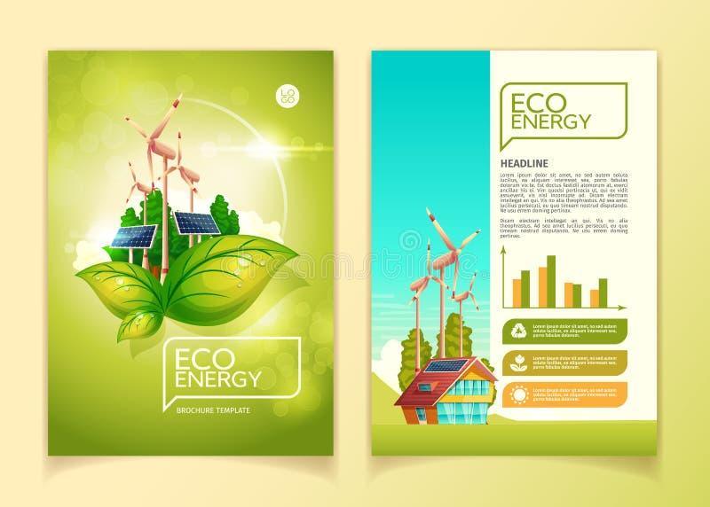 Διανυσματική απεικόνιση προτύπων ενεργειακών φυλλάδιων Eco για την πράσινη έννοια συντήρησης φύσης απεικόνιση αποθεμάτων