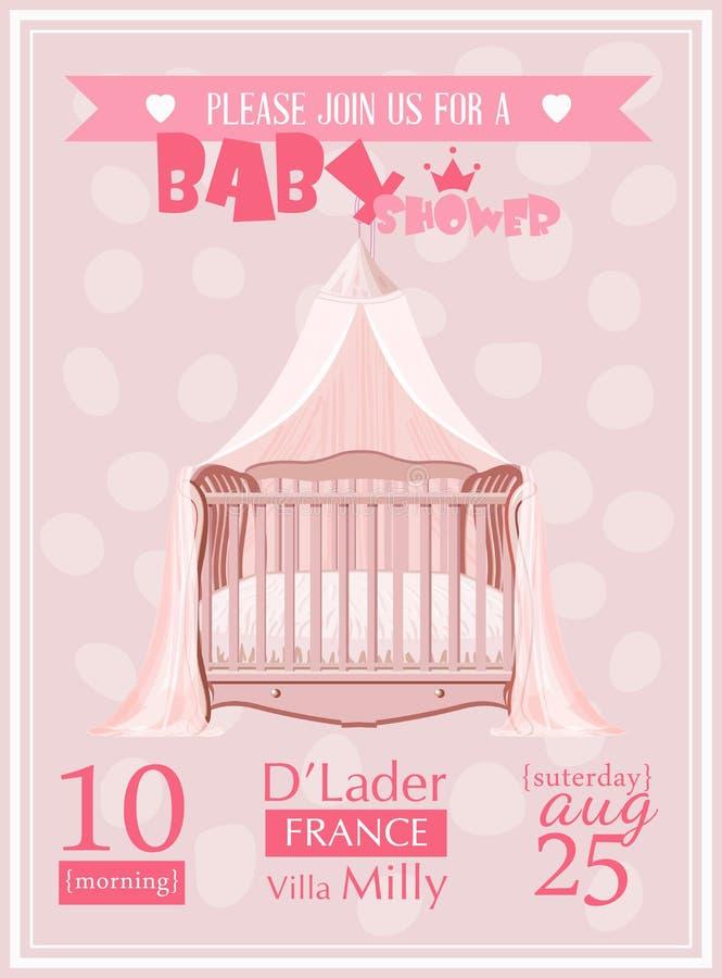 Διανυσματική απεικόνιση προτύπων πρόσκλησης κοριτσιών ντους μωρών με το ρόδινο παχνί διανυσματική απεικόνιση