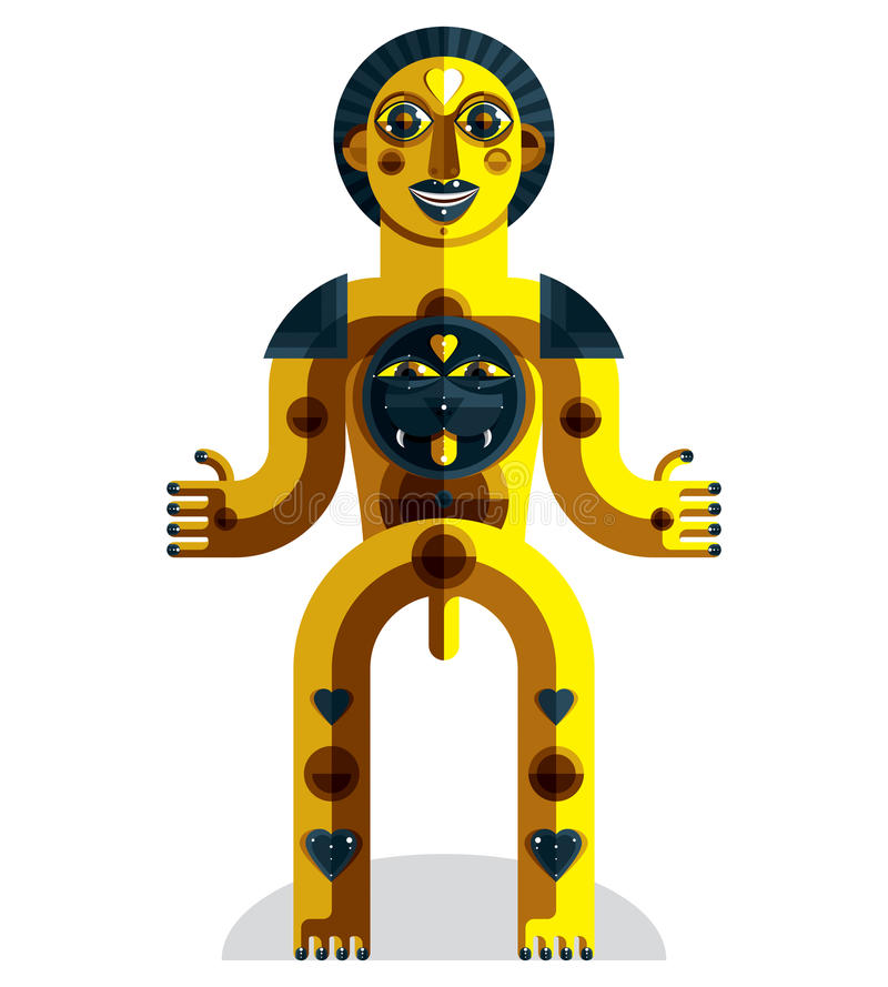 Διανυσματική απεικόνιση πρωτοπορίας του mythic προσώπου, ειδωλολατρικό σύμβολο απεικόνιση αποθεμάτων