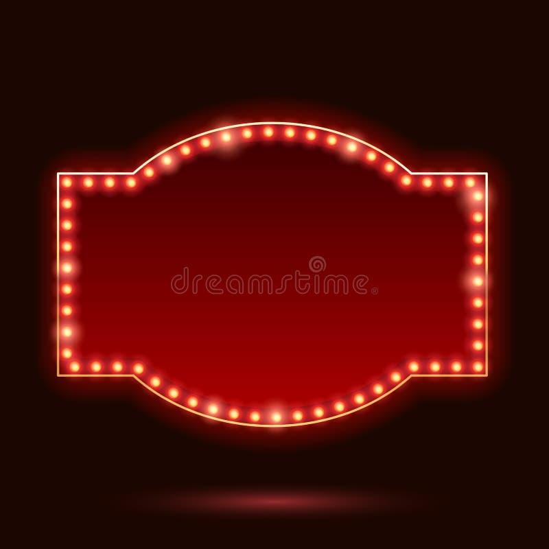 Διανυσματική απεικόνιση πλαισίων πυράκτωσης νέου λαμπών φωτός εκλεκτής ποιότητας ελεύθερη απεικόνιση δικαιώματος