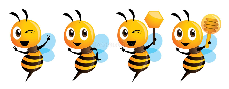 4 διανυσματική απεικόνιση σειράς μασκότ μελισσών κινούμενων σχεδίων χαριτωμένη απεικόνιση αποθεμάτων