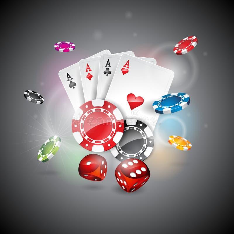 Διανυσματική απεικόνιση σε ένα θέμα χαρτοπαικτικών λεσχών με τα τσιπ παιχνιδιού χρώματος και κάρτες πόκερ στο λαμπρό υπόβαθρο