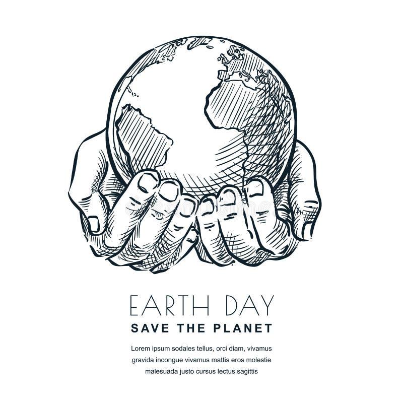 Διανυσματική απεικόνιση σκίτσων γήινης ημέρας Χέρια που κρατούν το γήινο πλανήτη Έμβλημα, σχέδιο αφισών για τα περιβαλλοντικά θέμ ελεύθερη απεικόνιση δικαιώματος