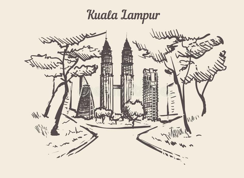 Διανυσματική απεικόνιση σκίτσων της Κουάλα Lampur συρμένη χέρι διανυσματική απεικόνιση