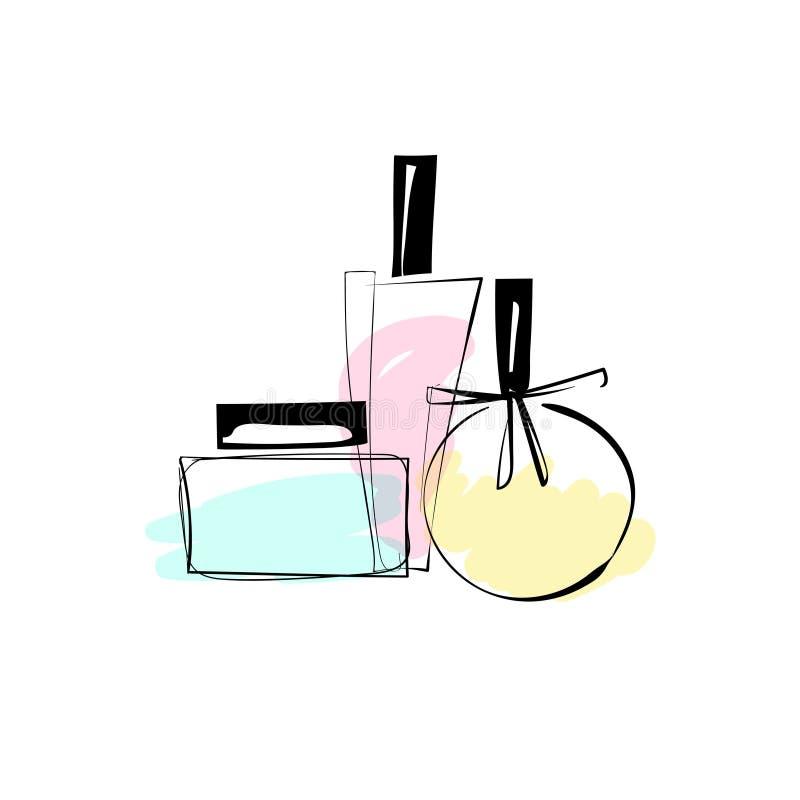Διανυσματική απεικόνιση σκίτσων των καθιερωνόντων τη μόδα μπουκαλιών αρώματος Διαφορετικό fruity άρωμα Για το σχέδιο καρτών, τυπω διανυσματική απεικόνιση