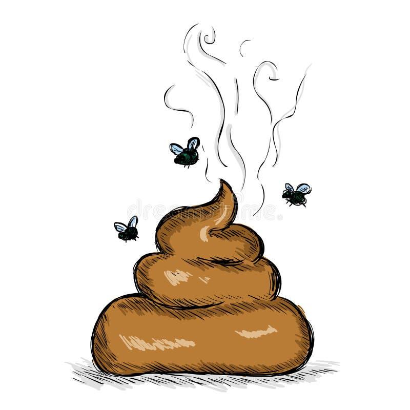 Διανυσματική απεικόνιση σκίτσων χρώματος - σωρός Shit με τις μύγες ελεύθερη απεικόνιση δικαιώματος