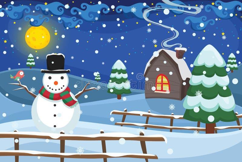 Διανυσματική απεικόνιση σκηνής χειμερινής νύχτας ελεύθερη απεικόνιση δικαιώματος