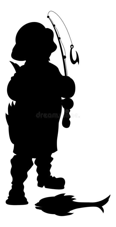 Διανυσματική απεικόνιση σκιαγραφιών ψαράδων ελεύθερη απεικόνιση δικαιώματος